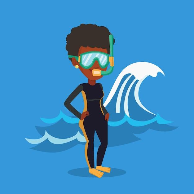 Illustrazione giovane subacqueo. Vettore Premium