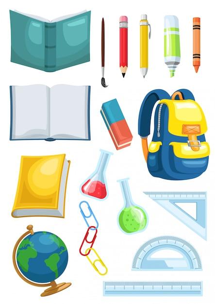 Illustrazione grafica dell'insegna dei rifornimenti di scuola dell'insieme di riserva di vettore Vettore Premium