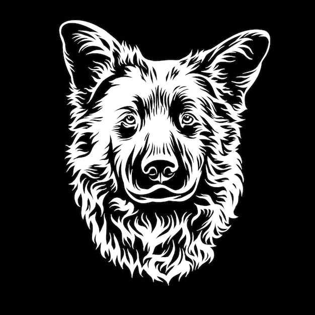 Illustrazione grafica testa di cane Vettore Premium