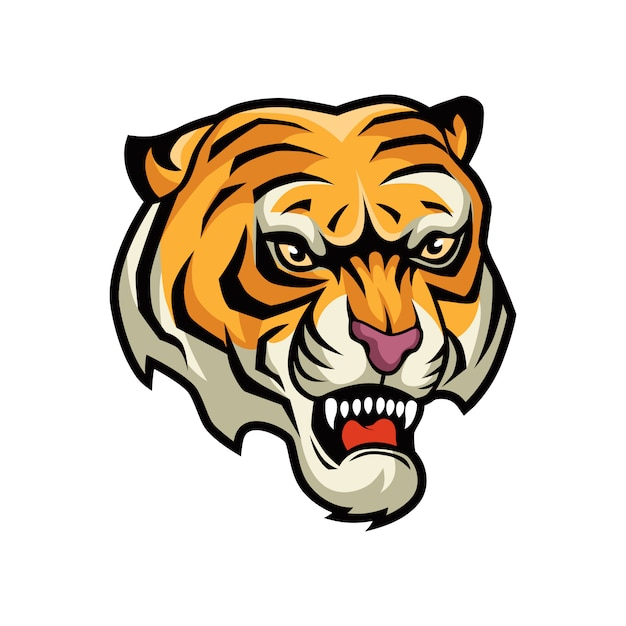 Illustrazione grafica vettoriale testa di tigre Vettore Premium