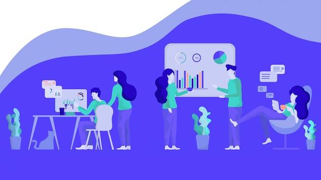 Illustrazione gruppo di persone di analisi del grafico finanziario Vettore Premium
