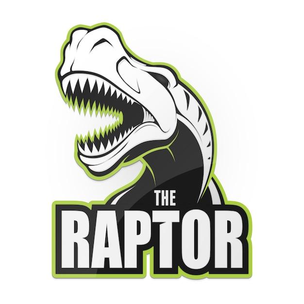 Illustrazione in bianco e nero del rapace del dinosauro Vettore Premium