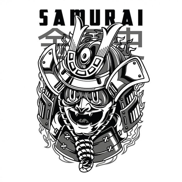 Illustrazione in bianco e nero della maschera del samurai Vettore Premium