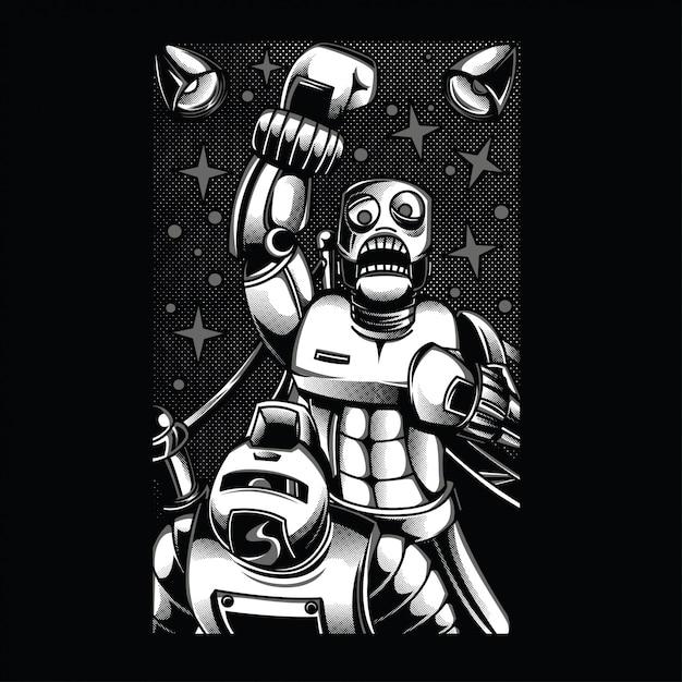 Illustrazione in bianco e nero di combattimento del retro robot Vettore Premium