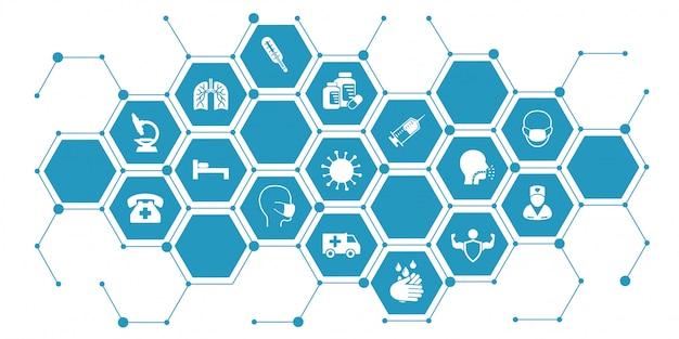 Illustrazione infografica coronavirus. il concetto con le icone protettive dell'antivirus si è riferito al coronavirus, infezione dalla porcellana Vettore Premium