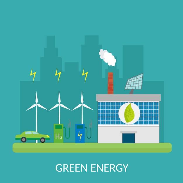 Illustrazione infographic degli elementi di ecologia e rischi e inquinamento ambientali. vita cittadina. Vettore Premium