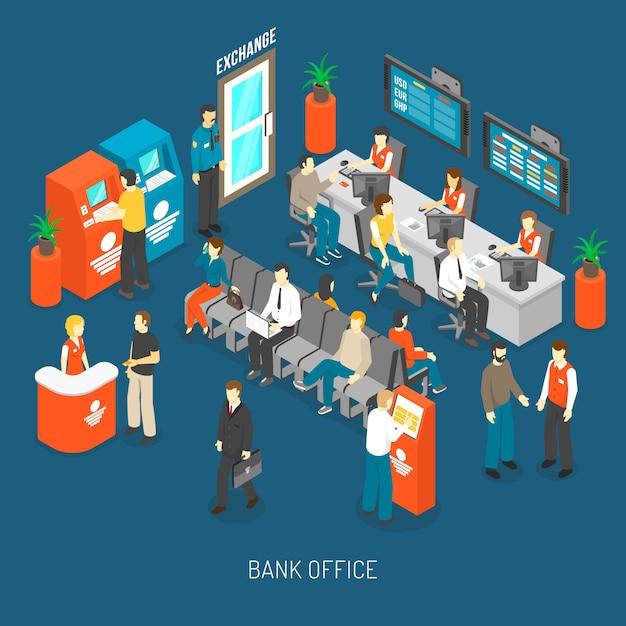 Illustrazione interna dell'ufficio della banca Vettore gratuito