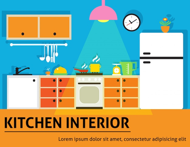Illustrazione interna della cucina Vettore gratuito