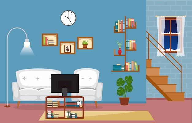 Illustrazione interna di vettore della mobilia della camera di famiglia moderna del salone Vettore Premium