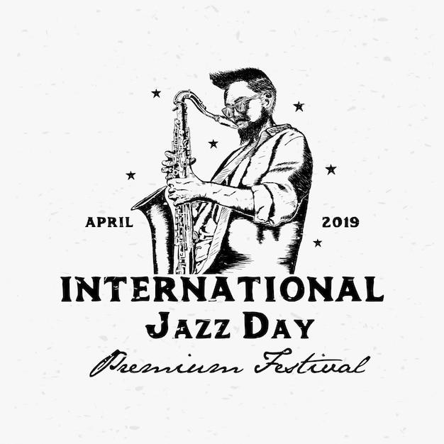 Illustrazione internazionale di vettore di giorno di jazz Vettore Premium
