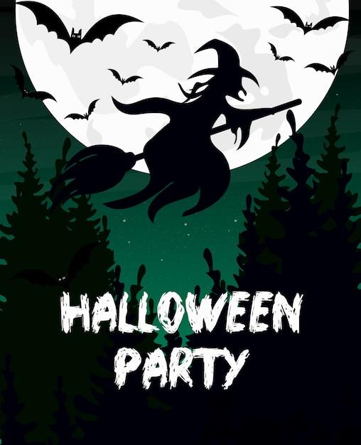 Illustrazione invito festa di halloween o biglietto di auguri. silhouette di strega, manico di scopa, pipistrello e luna sono lo sfondo del cielo scuro. Vettore Premium
