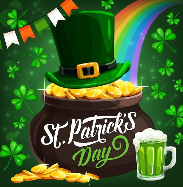 Illustrazione irlandese del vaso delle monete di oro del leprechaun di festa di st patrick Vettore Premium