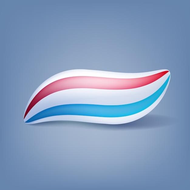 Illustrazione isolata chiazza della macchia del dentifricio in pasta. strisce di menta rossa e blu. Vettore Premium
