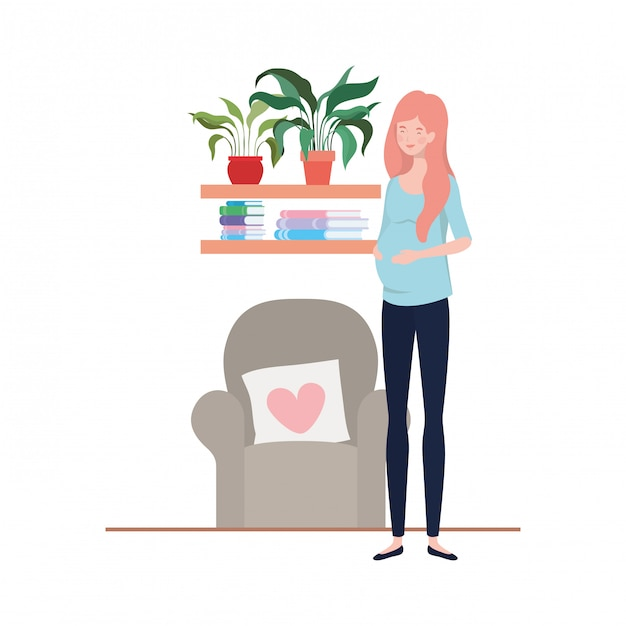 Illustrazione isolata della donna incinta Vettore Premium