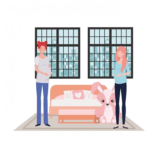 Illustrazione isolata delle donne incinte Vettore Premium
