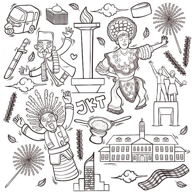 Illustrazione isolata di scarabocchi del profilo di jakarta indonesia Vettore Premium