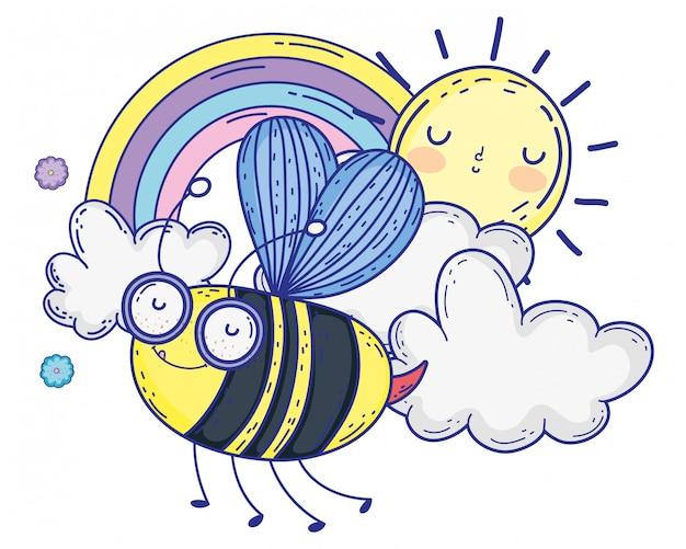 Illustrazione isolata di vettore di progettazione del fumetto di tiraggio dell'ape Vettore Premium