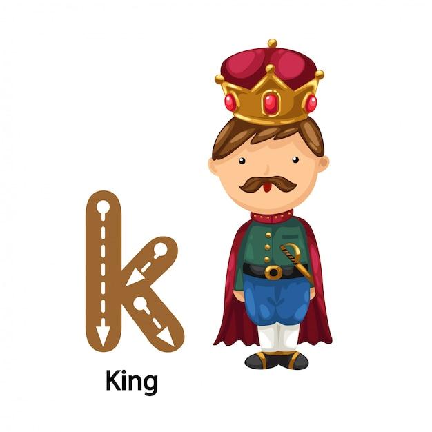 Illustrazione isolata k-king della lettera di alfabeto Vettore Premium