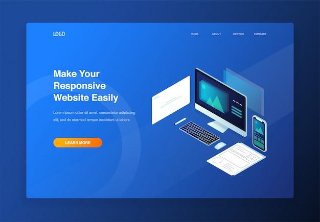 Illustrazione isometrica 3d per sito web reattivo e sito web mobile. pagina di destinazione Vettore Premium