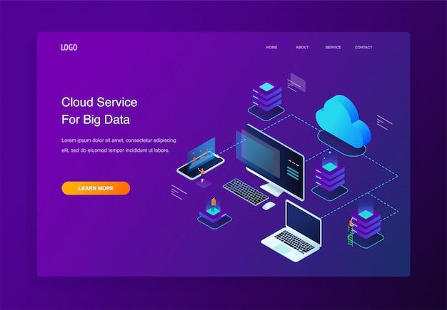 Illustrazione isometrica 3d persone che interagiscono con servizi di cloud computing, pagina di destinazione Vettore Premium
