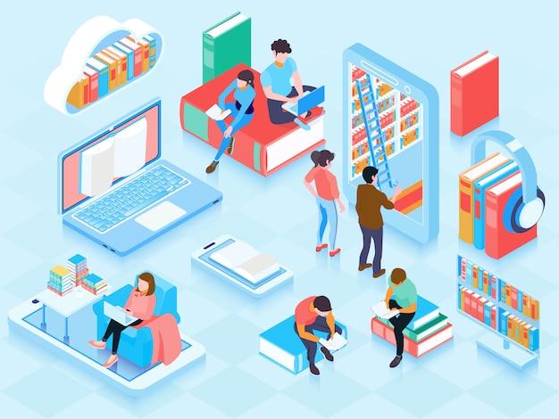 Illustrazione isometrica biblioteca online Vettore gratuito