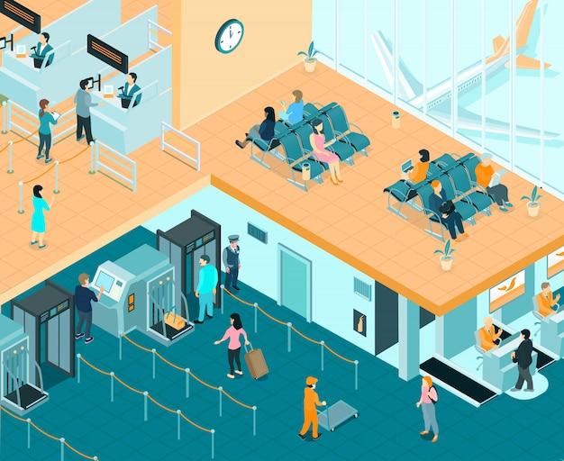 Illustrazione isometrica coperta dell'aeroporto Vettore gratuito