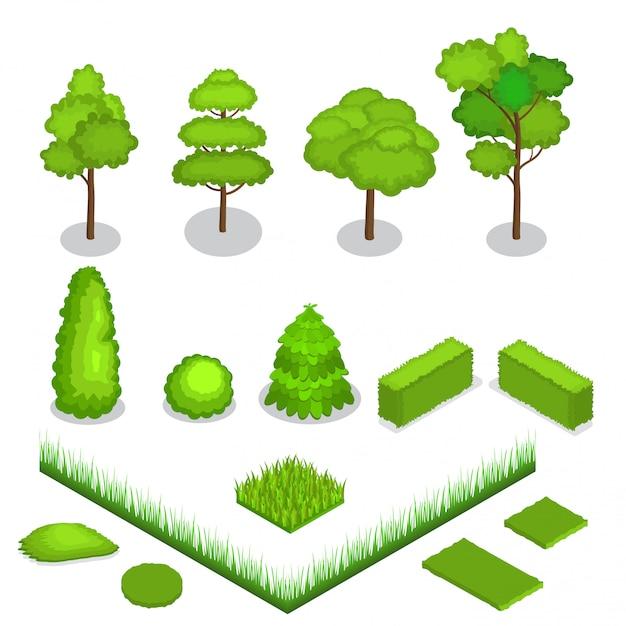 Illustrazione isometrica degli alberi 3d di vettore Vettore Premium