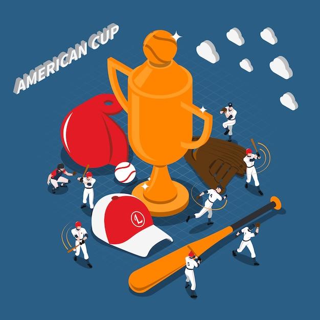 Illustrazione isometrica del gioco di baseball della tazza americana Vettore gratuito
