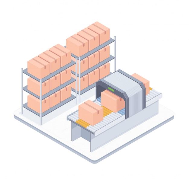 Illustrazione isometrica del nastro trasportatore di imballaggio automatizzato Vettore Premium