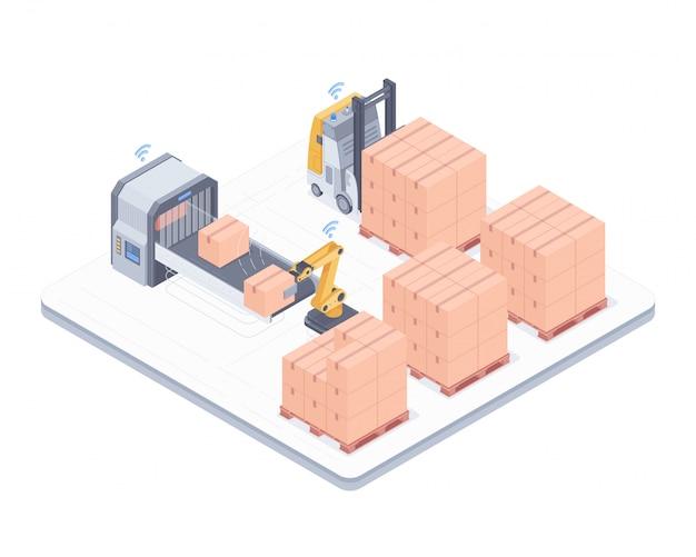 Illustrazione isometrica del sistema di imballaggio automatizzato Vettore Premium