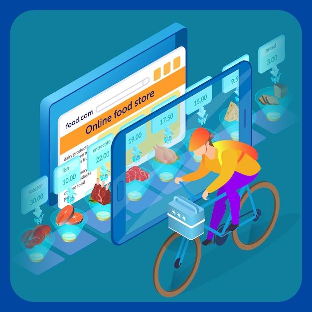 Illustrazione isometrica del sito web del supermercato online Vettore Premium