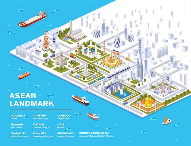Illustrazione isometrica del sud-est asiatico famoso punto di riferimento con sky view city Vettore Premium
