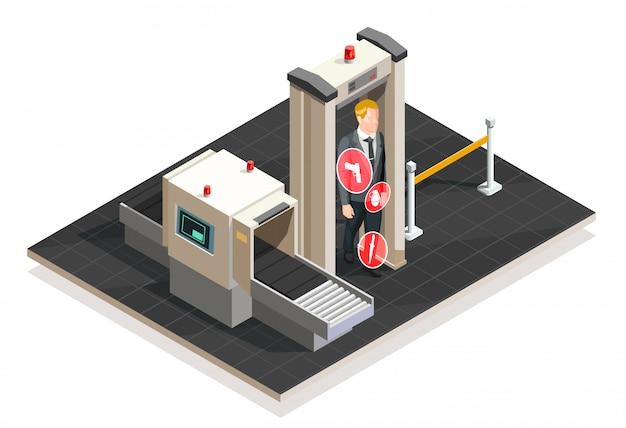 Illustrazione isometrica dell'aeroporto Vettore gratuito