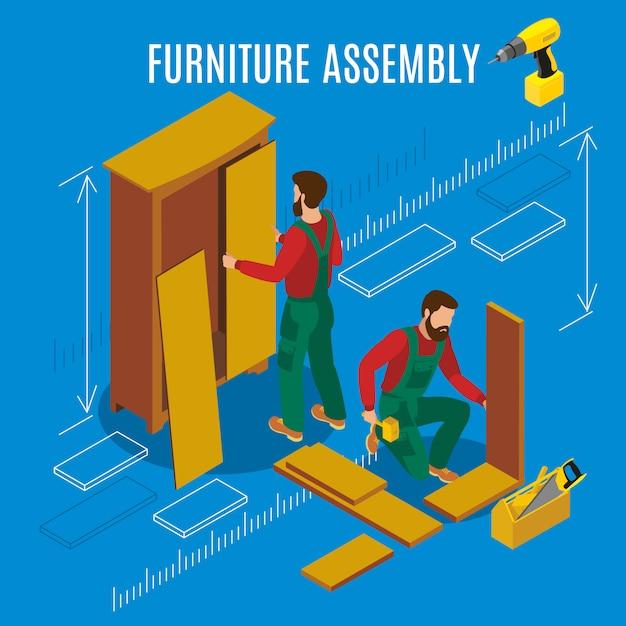 Illustrazione isometrica dell'assemblea dei mobili Vettore gratuito