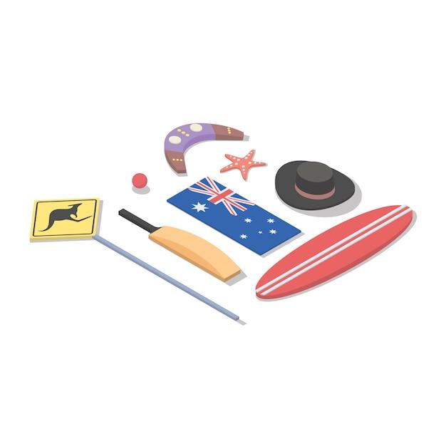 Illustrazione isometrica dell'australia Vettore Premium