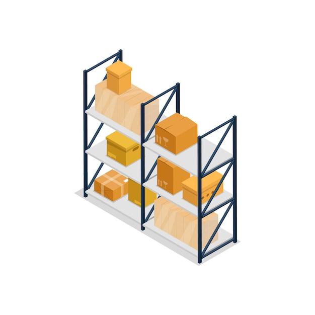 Illustrazione isometrica dell'elemento interno degli scaffali del magazzino Vettore Premium