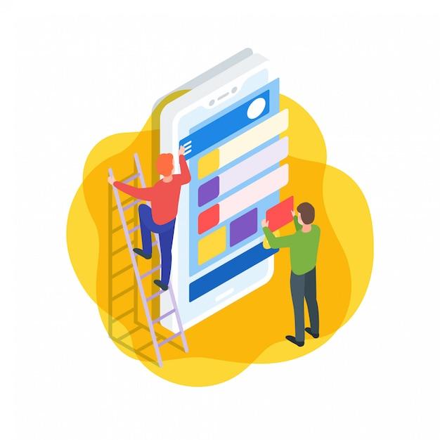 Illustrazione isometrica dell'interfaccia dell'applicazione mobile Vettore Premium