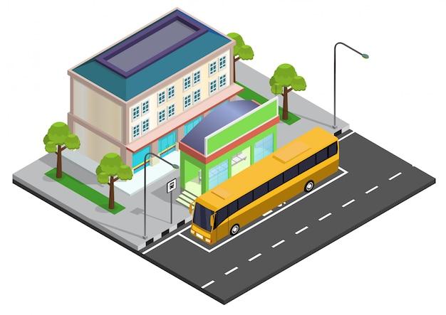 Illustrazione isometrica della fermata dell'autobus Vettore Premium