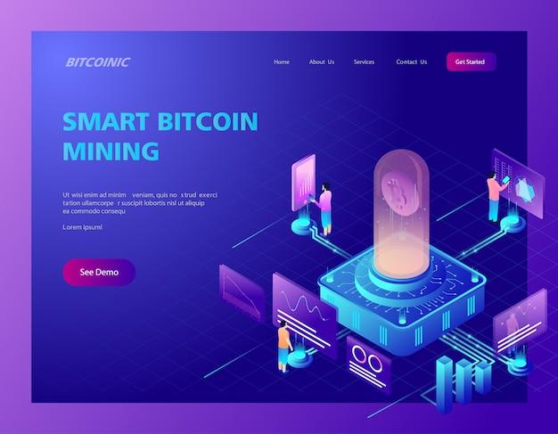 Illustrazione isometrica della pagina di destinazione del mining bitcoin Vettore Premium
