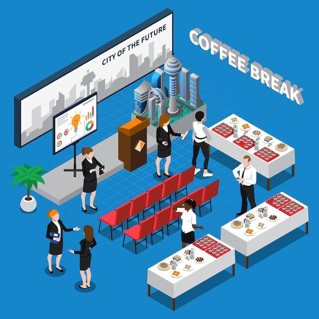 Illustrazione isometrica della pausa caffè Vettore gratuito