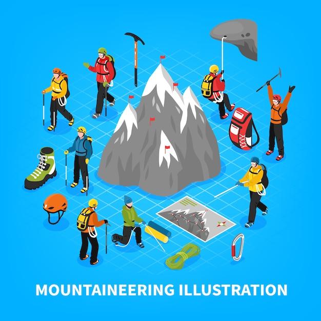 Illustrazione isometrica di alpinismo Vettore gratuito