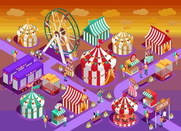 Illustrazione isometrica di attrazioni del circo del parco di divertimenti Vettore gratuito