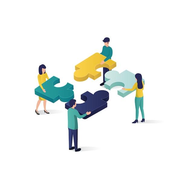 Illustrazione isometrica di concetto di associazione di cooperazione dell'illustrazione di concetto di lavoro di squadra nello stile isometrico. Vettore Premium