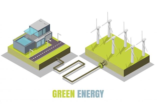 Illustrazione isometrica di concetto di energia verde Vettore Premium