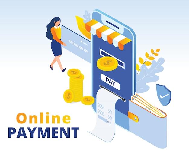 Illustrazione isometrica di concetto di pagamento online Vettore Premium
