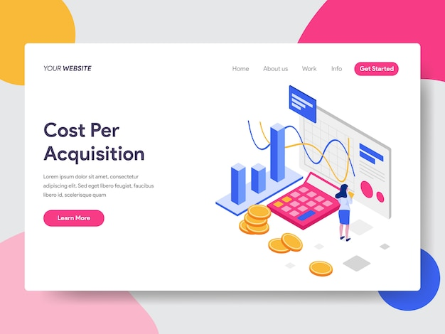 Illustrazione isometrica di costo per acquisizione Vettore Premium