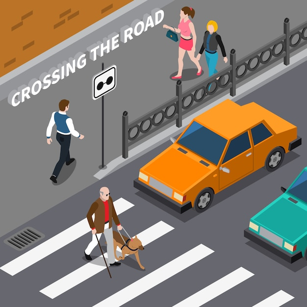 Illustrazione isometrica di cross blind person on crosswalk Vettore gratuito