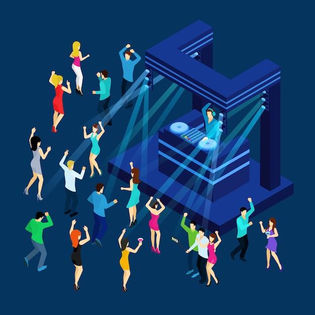 Illustrazione isometrica di dancing people Vettore gratuito