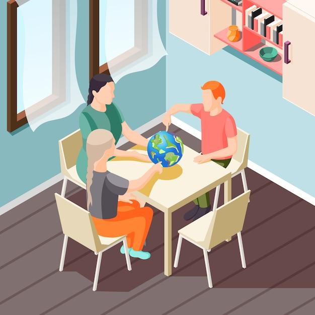 Illustrazione isometrica di educazione alternativa con insegnante e alunni durante la lezione di geografia Vettore gratuito