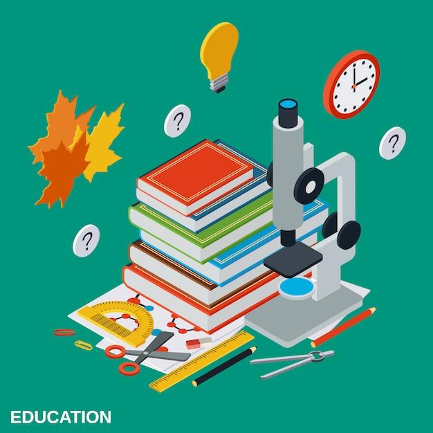 Illustrazione isometrica di educazione Vettore Premium